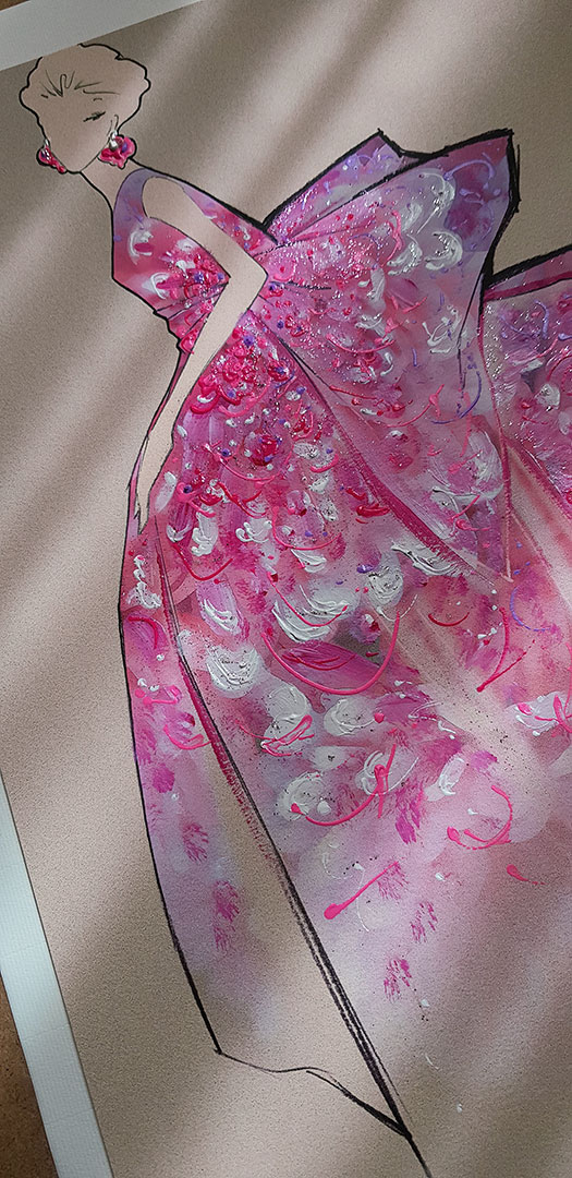 fashion illustration couture butterfly detail shadows long