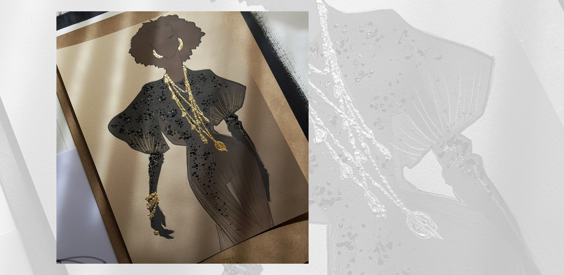 fashion illustration bohemian couture gold